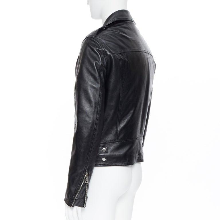 new BALMAIN black lambskin padded Perfecto moto biker leather jacket EU50 L For Sale 3