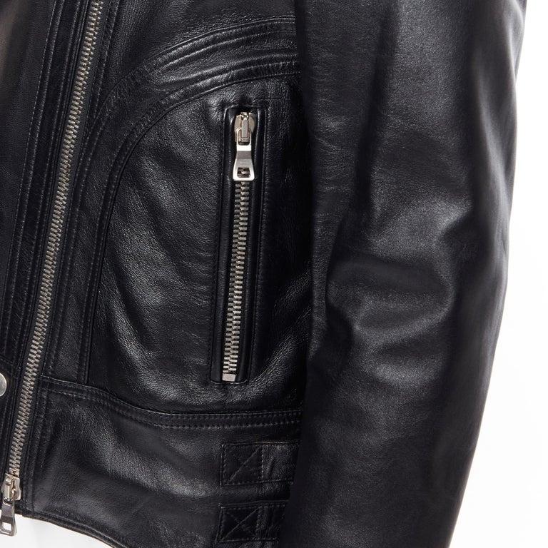 new BALMAIN black lambskin padded Perfecto moto biker leather jacket EU50 L For Sale 4