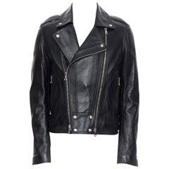 new BALMAIN black lambskin padded Perfecto moto biker leather jacket EU50 L
