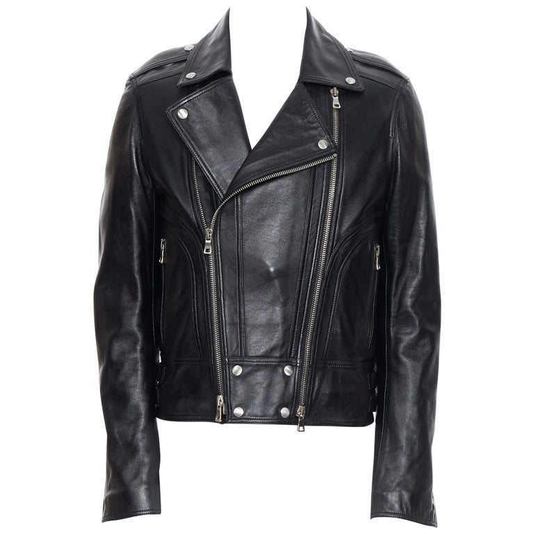 new BALMAIN black lambskin padded Perfecto moto biker leather jacket EU50 L For Sale