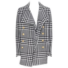 new BALMAIN black white houndstooth gold double breasted military wool coat M