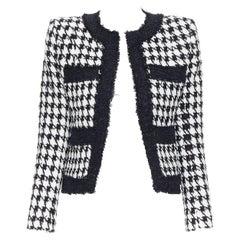 new BALMAIN black white houndstooth tweed 4 pocket padded cropped jacket FR34
