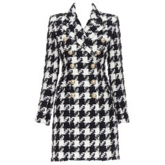 new BALMAIN black white houndstooth tweed double breasted military coat FR34 XS
