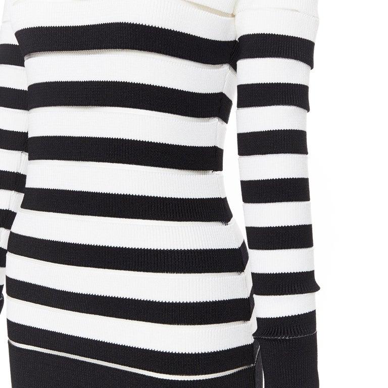 new BALMAIN black white sheer mesh stripe military crochet knit bodycon dress S For Sale 5