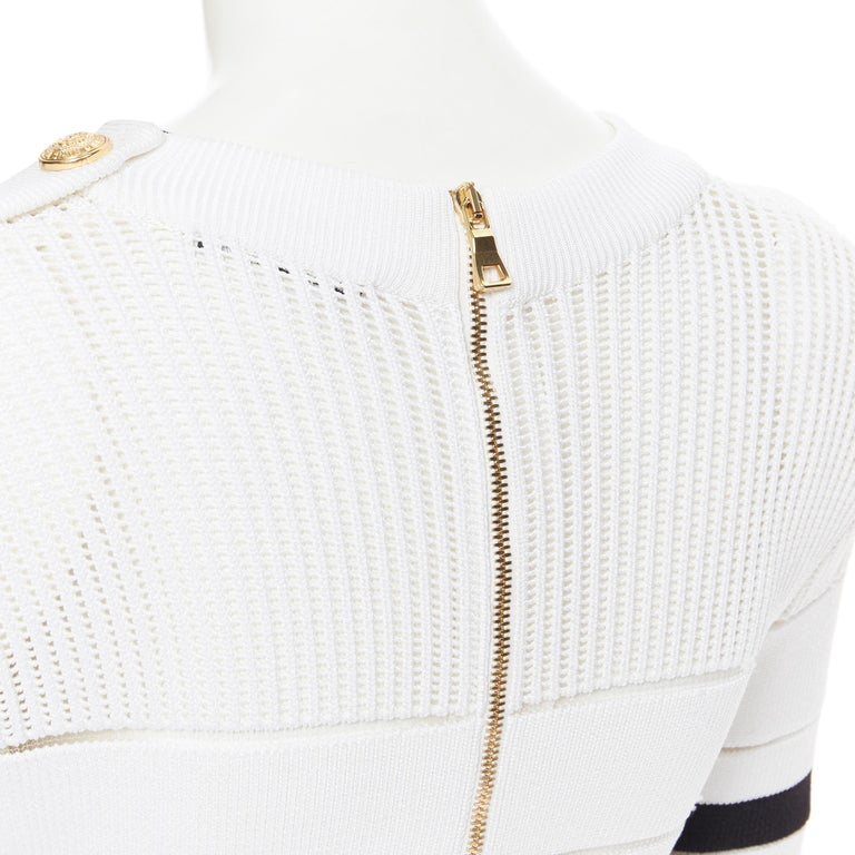 new BALMAIN black white sheer mesh stripe military crochet knit bodycon dress S For Sale 6