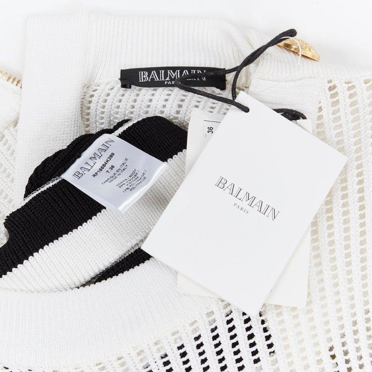 new BALMAIN black white sheer mesh stripe military crochet knit bodycon dress S For Sale 7