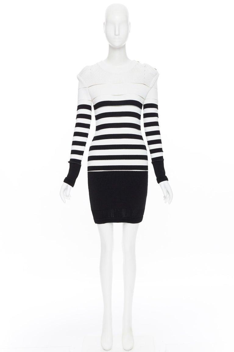 Black new BALMAIN black white sheer mesh stripe military crochet knit bodycon dress S For Sale