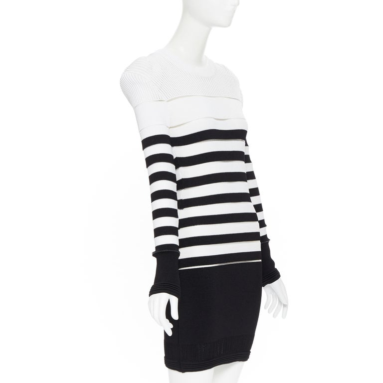 new BALMAIN black white sheer mesh stripe military crochet knit bodycon dress S In New Condition For Sale In Hong Kong, NT