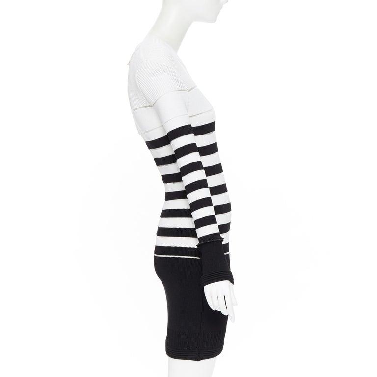 Women's new BALMAIN black white sheer mesh stripe military crochet knit bodycon dress S For Sale