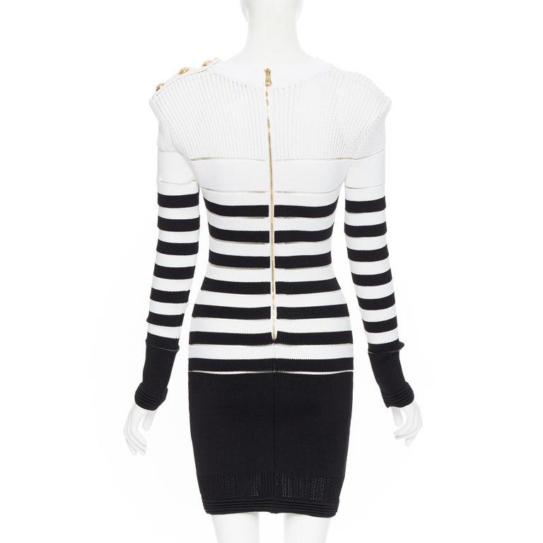 new BALMAIN black white sheer mesh stripe military crochet knit bodycon dress S For Sale 1