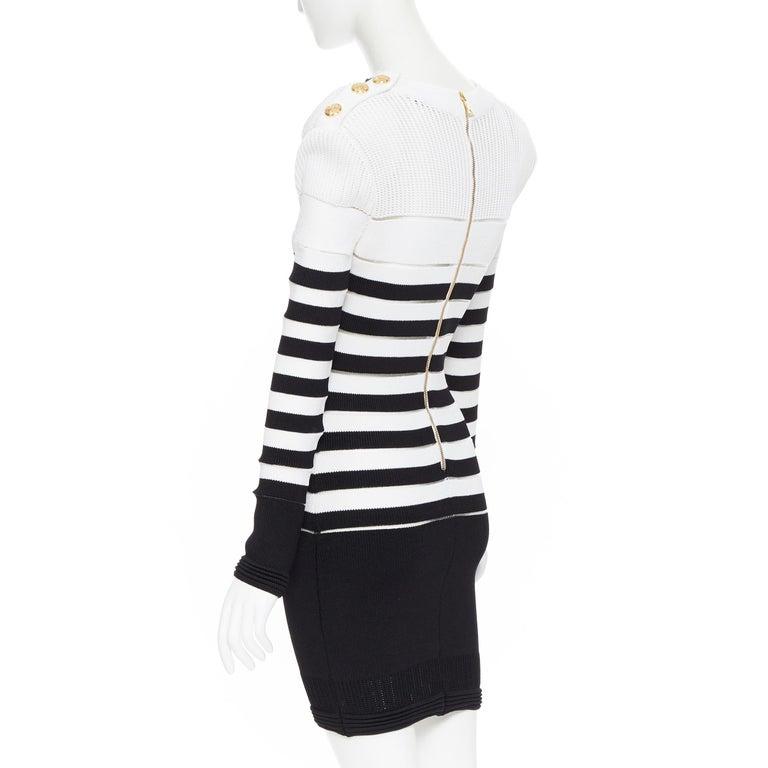 new BALMAIN black white sheer mesh stripe military crochet knit bodycon dress S For Sale 2