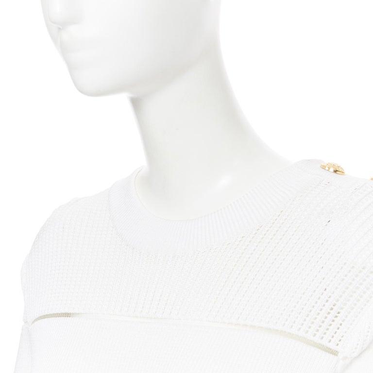 new BALMAIN black white sheer mesh stripe military crochet knit bodycon dress S For Sale 3