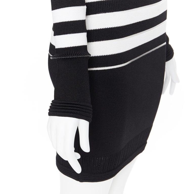 new BALMAIN black white sheer mesh stripe military crochet knit bodycon dress S For Sale 4