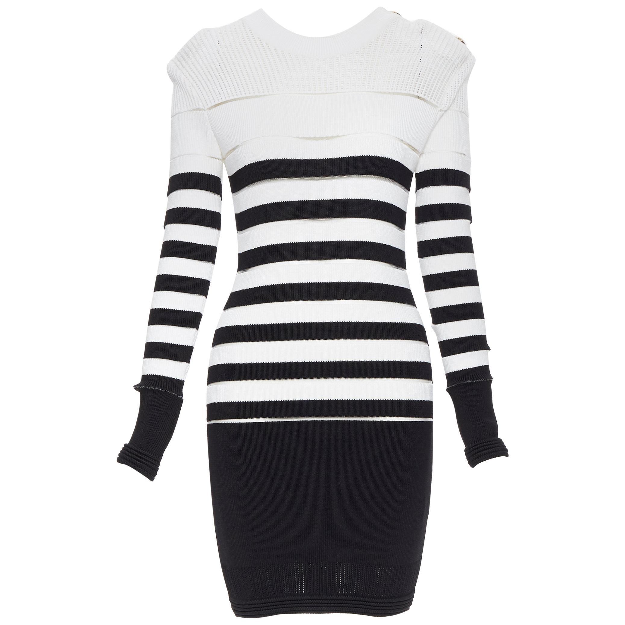 new BALMAIN black white sheer mesh stripe military crochet knit bodycon dress S