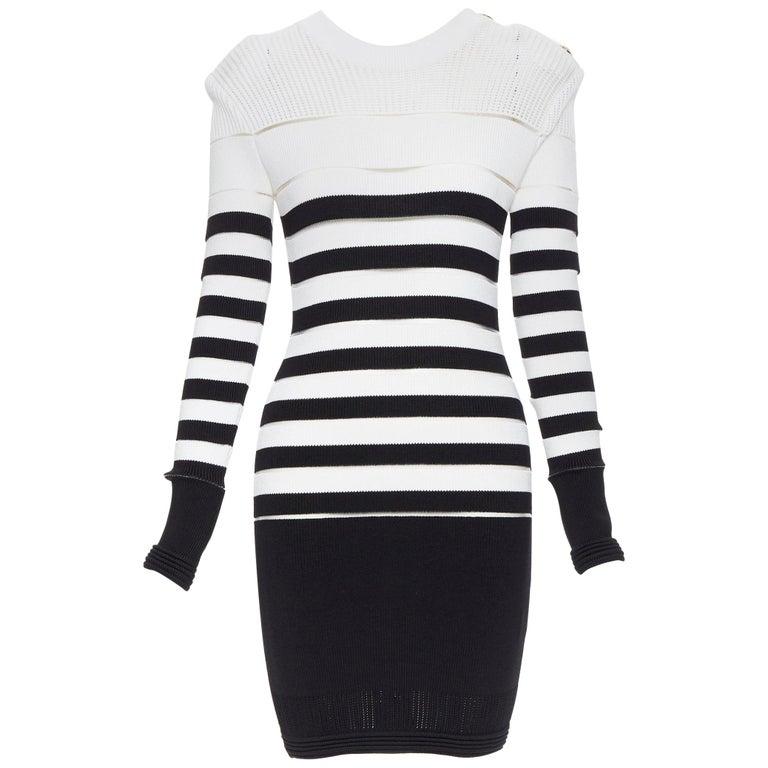 new BALMAIN black white sheer mesh stripe military crochet knit bodycon dress S For Sale