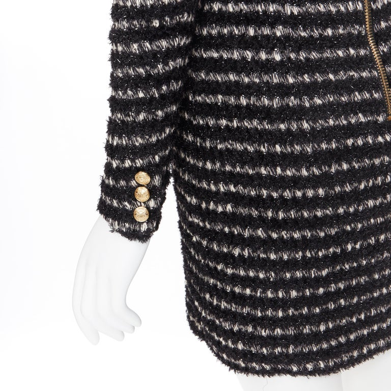 new BALMAIN black white stripe fluffy tweed knit military button mini dress Fr34 For Sale 5