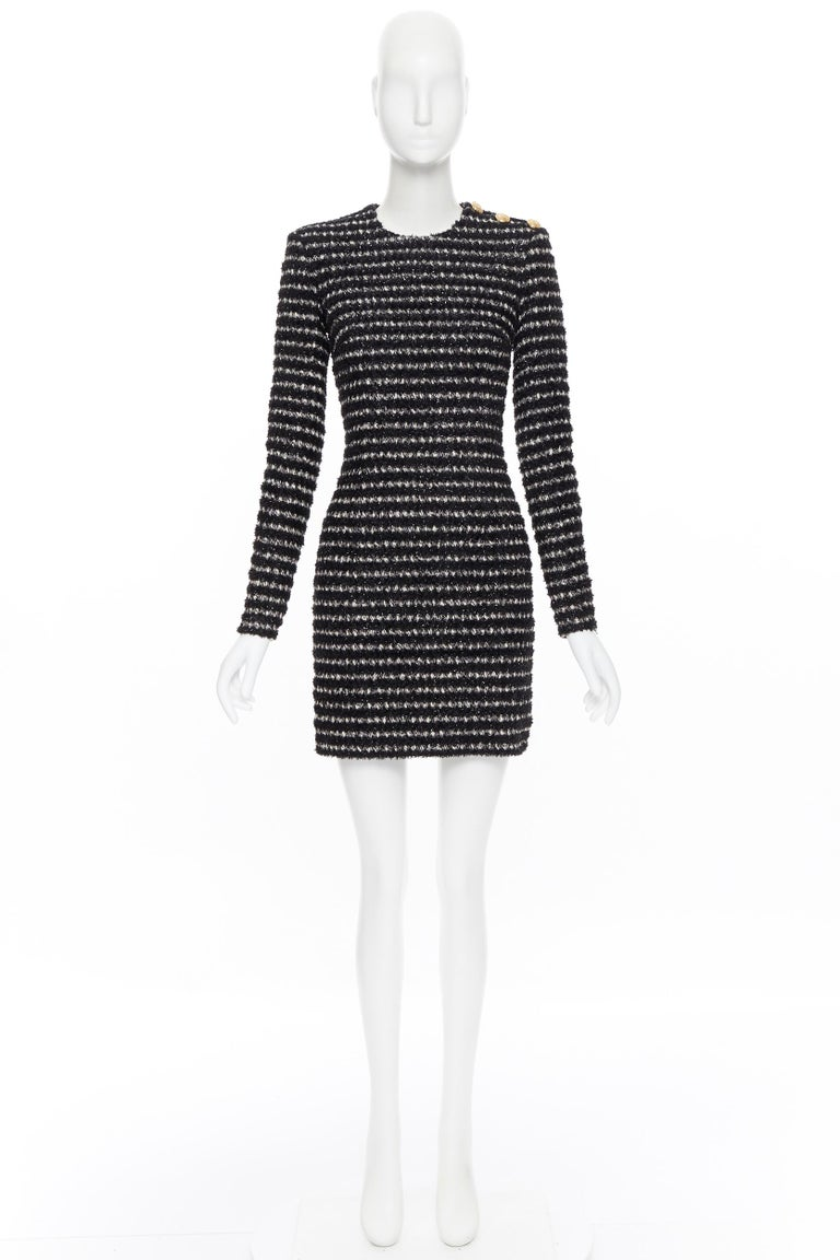 Black new BALMAIN black white stripe fluffy tweed knit military button mini dress Fr34 For Sale