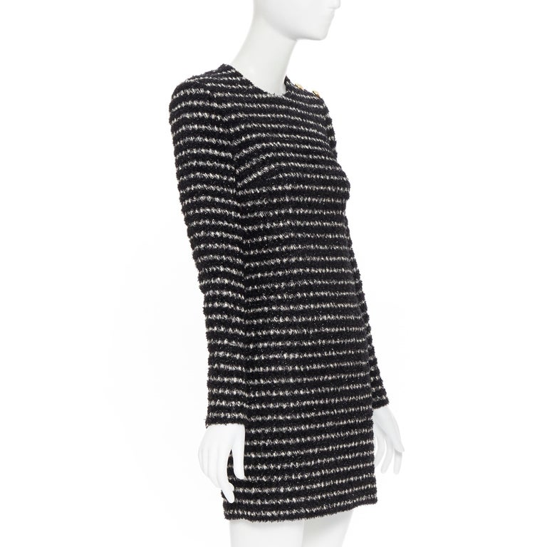 new BALMAIN black white stripe fluffy tweed knit military button mini dress Fr34 In New Condition For Sale In Hong Kong, NT