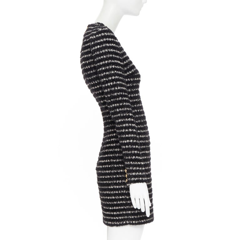 Women's new BALMAIN black white stripe fluffy tweed knit military button mini dress Fr34 For Sale