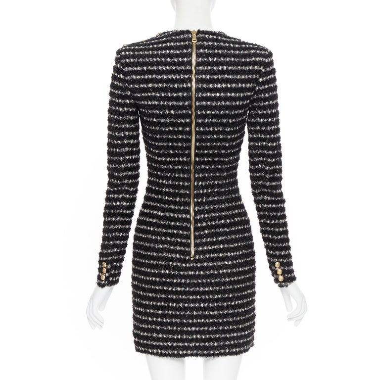 new BALMAIN black white stripe fluffy tweed knit military button mini dress Fr34 For Sale 1