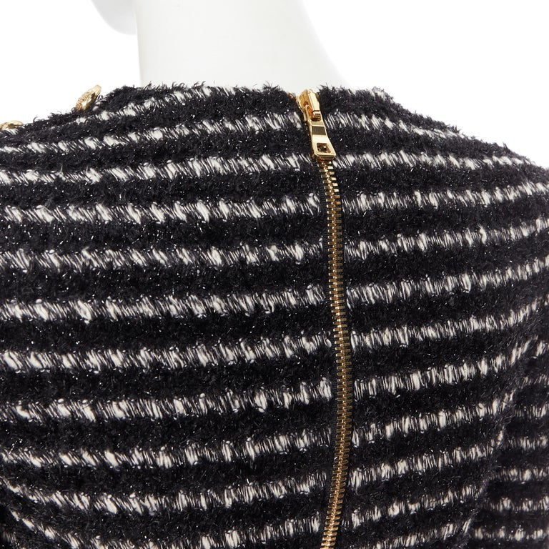 new BALMAIN black white stripe fluffy tweed knit military button mini dress Fr34 For Sale 4