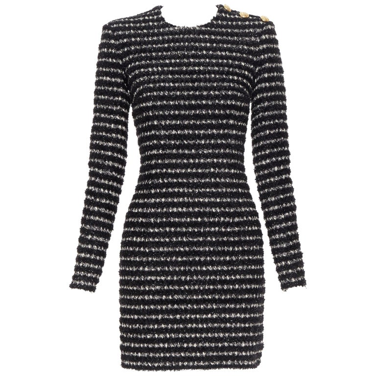 new BALMAIN black white stripe fluffy tweed knit military button mini dress Fr34 For Sale