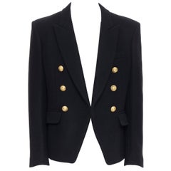 new BALMAIN black wool gold military button double breasted nautical jacket EU52