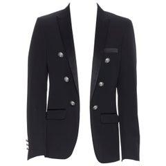 new BALMAIN black wool satin peak label double breasted blazer jacket EU48 M