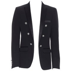 new BALMAIN black wool satin peak label double breasted blazer jacket EU50 L