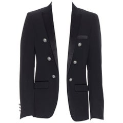 new BALMAIN black wool satin peak label double breasted military blazer EU50 L
