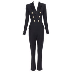 new BALMAIN black wool silk satin peak lapel double breasted jumpsuit FR34 XS