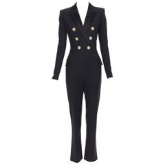 new BALMAIN black wool silk satin peak lapel double breasted jumpsuit FR36 S