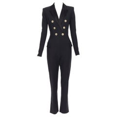 new BALMAIN black wool silk satin peak lapel double breasted jumpsuit FR38 M