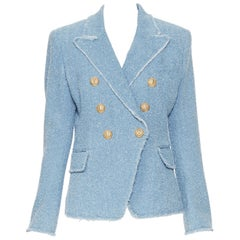 new BALMAIN blue cotton boucle tweed gold double breasted blazer jacket FR40  M