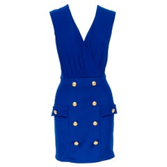 new BALMAIN blue viscose double breasted military button skirt mini dress FR38