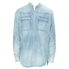 new BALMAIN blue washed denim distressed holey cargo pocket casual shirt EU41 L