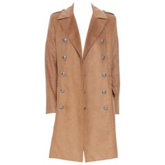 new BALMAIN camel brown silver button double breasted military long  coat EU48 M