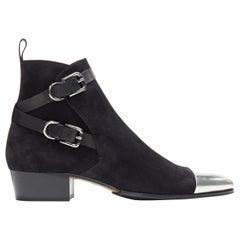 new BALMAIN classic black suede silver toe cap buckle anthos ankle boots EU44