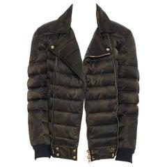 new BALMAIN green camouflage gold-tone double zip down puffer biker jacket L