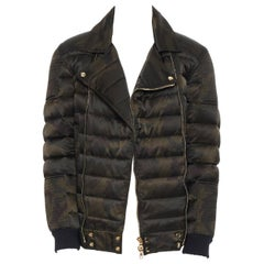 new BALMAIN green camouflage gold-tone double zip down puffer biker jacket XL
