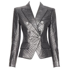 new BALMAIN gunmetal silver quilted military double breasted blazer jacket FR34