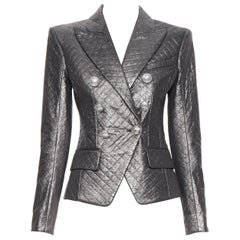 new BALMAIN gunmetal silver quilted military double breasted blazer jacket FR36