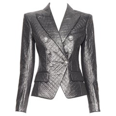 new BALMAIN gunmetal silver quilted military double breasted blazer jacket FR38