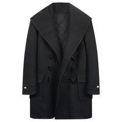 New Balmain Hooded Black Coat for Men