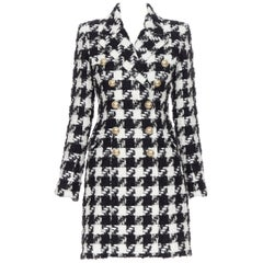 new BALMAIN houndstooth black white tweed double breasted military coat FR34 XS