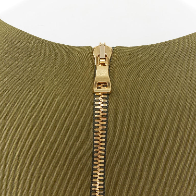 new BALMAIN military khaki green gold double breasted wrap bodycon dress IT38 For Sale 5