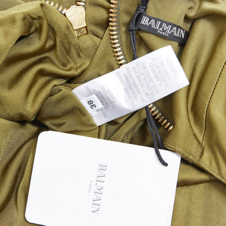 new BALMAIN military khaki green gold double breasted wrap bodycon dress IT38 For Sale 6