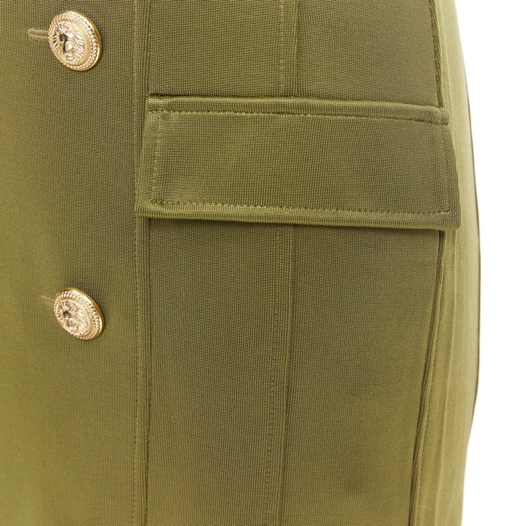 new BALMAIN military khaki green gold double breasted wrap bodycon dress IT38 Brand: Balmain Designer: Olivier Rousteing Model Name / Style: Double breasted dress Material: Viscose Color: Green Pattern: Solid Closure: Zip Extra Detail: Decorative