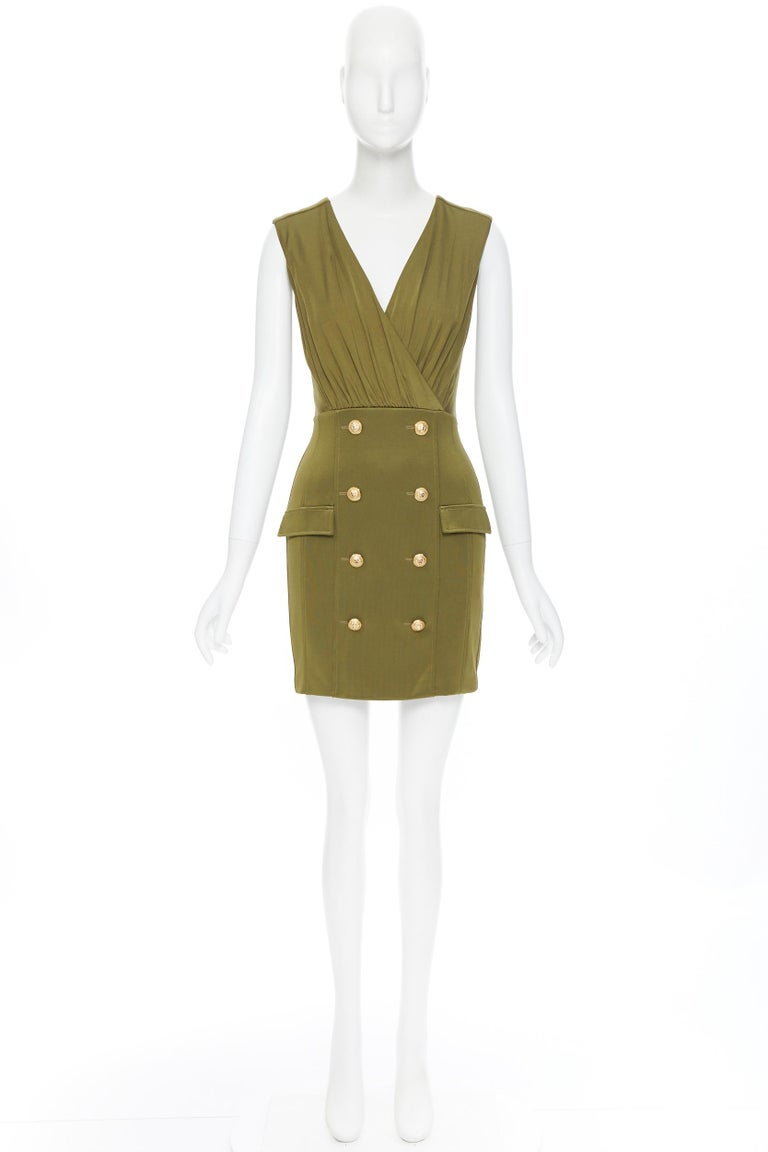 Brown new BALMAIN military khaki green gold double breasted wrap bodycon dress IT38 For Sale
