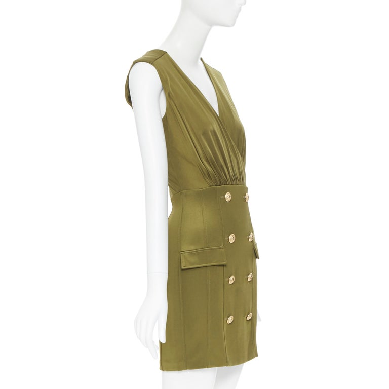 new BALMAIN military khaki green gold double breasted wrap bodycon dress IT38 In New Condition For Sale In Hong Kong, NT